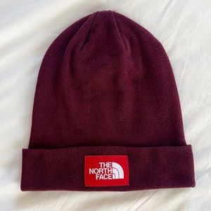 The North Face Deep Red Beanie Hat NWOT TNF